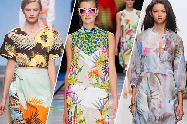 Tropikal Desenli Elbiseler